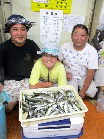 サビキ釣りで大漁です